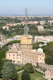 View from Saint Peter's Basilica at Vatican Radio Buildings. The tower of Palace Leone XIII and the Italian capital of Rome seen from the roof of Saint Peter's Royalty Free Stock Images