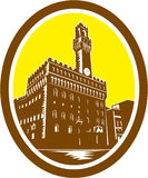 Tower of Palazzo Vecchio Florence Low Woodcut Stock Image