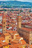Tower of palazzo vecchio in florence top view Royalty Free Stock Photos