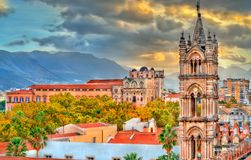 Tower of Palermo Cathedral and Palazzo dei Normanni at sunset - Sicily, Italy. Tower of Palermo Cathedral and Palazzo dei Normanni at sunset. A UNESCO heritage Stock Photography