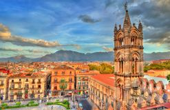 Tower of Palermo Cathedral at sunset - Sicily, Italy. Tower of Palermo Cathedral at sunset. A UNESCO heritage site in Sicily, Italy Stock Photo