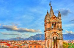 Tower of Palermo Cathedral at sunset - Sicily, Italy. Tower of Palermo Cathedral at sunset. A UNESCO heritage site in Sicily, Italy Royalty Free Stock Photos