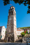 Tower of the parish Church of All Saints, Blato, Korcula Stock Photos