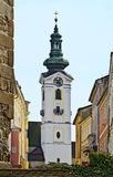 Tower of a parish church with clock Stock Images