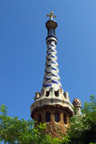 Tower in Park Guell. Multi colored tower in Park Guell, Barcelona, Spain stock images
