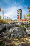 Tower in a park. Stone tower in a public park during fall time Royalty Free Stock Photos