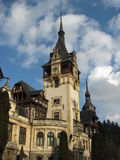 Tower at Peles Castle. A view of the beautiful tower at the landmark Peles Castle near Sinaia, Romania Royalty Free Stock Image