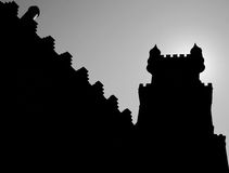 A tower of the Pena palace blocking the bright summer sun, near Sintra, Portugal Royalty Free Stock Photos