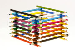 Tower of pencils Stock Photo