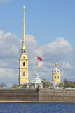 The tower and Peter and Paul Cathedral may day. Peter and Paul fortress, Saint-Petersburg Stock Photography