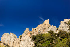 Tower of Peyrepertuse, medieval cathar castle Stock Images