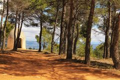 Tower between pine forest in the Utiel mountains stock photo