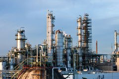 Tower and piping in factory. Gas refineries plant in thailand Royalty Free Stock Images