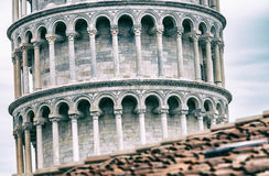 Tower of Pisa from ancient city walls Royalty Free Stock Photos