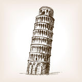Tower of Pisa hand drawn sketch style vector Royalty Free Stock Images