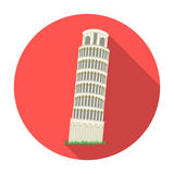 Tower of Pisa in Italy icon in flat style isolated on white background. Countries symbol stock vector illustration. Royalty Free Stock Photography