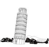 Tower of Pisa with landscape hand drawn  illustration. Leaning Tower of Pisa, world heritage in Pisa, Tuscany, Italy Royalty Free Stock Photo