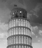 Tower of Pisa in Miracles Square, Illuminated at Night with suns Stock Images