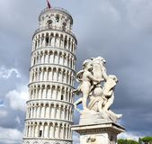 Tower of Pisa supported by back foot Stock Photography