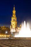 Tower of Plaza de Espana in night Stock Photography