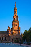 Tower of Plaza de Espana, Seville Stock Photos
