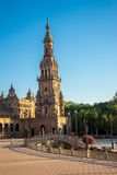 The tower in Plaza de Espana in Seville, Spain, Europe Royalty Free Stock Photo