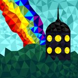 The tower in polygonal style. With a rainbow Royalty Free Stock Photo