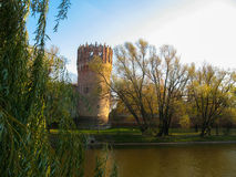 Tower. Pond in autumn. Foliage, Water royalty free stock images