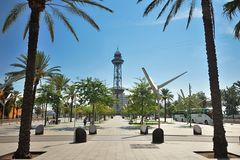 Tower of Port Vell Aerial Tramway in Barcelona stock photography