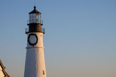 The tower of the Portland Head Lighthouse at Sunrise Royalty Free Stock Photo
