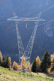 Tower of power line high voltage. High-voltage power line flying over a meadow and a forest of larch and spruce. The electricity comes from hydroelectric power Stock Photos