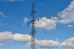 Tower of power lines Royalty Free Stock Photo