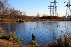 Tower of power lines near the lake. Stock Image