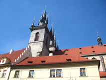 Tower in Prague. Beautiful ancient tower in Prague Royalty Free Stock Photos