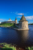 Tower of the Pskov Kremlin in the evening Royalty Free Stock Images