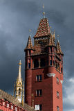 Tower of the Rathaus in Basel Against a Threatening Sky Royalty Free Stock Photos