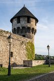 Tower of the reconstructed medieval part of Buda castle.  stock photo
