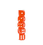 Tower of red dice. Over white photo of a tower of 5 red dice Stock Image