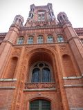 Tower of the red town hall in Berlin seen by the lower part, Germany royalty free stock photography