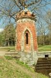 The tower of The Red Turkish cascade in the Catherine Park in Tsarskoye Selo. Tsarskoye Selo Pushkin, Russia. The tower of The Red Turkish cascade Royalty Free Stock Photo