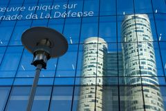 Tower reflection. Corporate building reflection in La Defense business district - Paris, France stock photography
