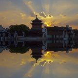 Tower and reflection, Suzhou, China Royalty Free Stock Photography