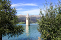 Tower of Resia Lake Church Stock Images
