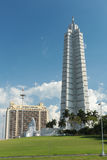 Tower at Revolution Square in Havana. The Revolution Square in Havana with its iconic tower and the Jose Marti monument stock images
