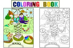 Thrill from a free fall from this tower. Color book black lines on a white background. Coloring, black and white. Tower ride, tallest amusement attraction stock illustration