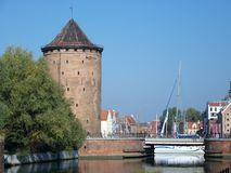 The tower on the river stock images