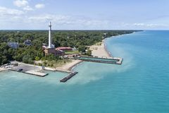 Tower Road Beach Aerial. Aerial view of Tower Road Beach, Lake Michigan and the water and electric plant facility in Winnetka, IL. USA Royalty Free Stock Image