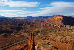 Tower Rock and Highway, Capitol Reef National Park, Utah Stock Photo