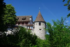 Tower and roof of Medieval Laufen castle in Switzerland. Near the Rheinfall Royalty Free Stock Photo