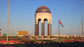 Tower roundabout in Muscat, Oman. Roundabout with an oriental tower in the city of Muscat, Sultanate of Oman, Middle Eastn stock footage